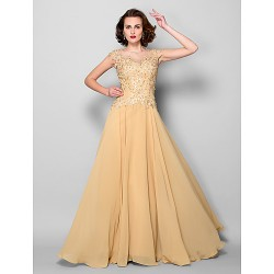 A Line Plus Sizes Petite Mother Of The Bride Dress Gold Sweep Brush Train Sleeveless Chiffon Lace