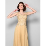 A-line Plus Sizes / Petite Mother of the Bride Dress - Gold Sweep/Brush Train Sleeveless Chiffon / Lace Mother Of The Bride Dresses