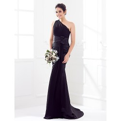 Sweep/Brush Train Satin / Georgette Bridesmaid Dress - Black Plus Sizes / Petite Trumpet/Mermaid One Shoulder