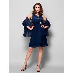 A-line Plus Sizes / Petite Mother of the Bride Dress - Dark Navy Knee-length Sleeveless Chiffon / Lace