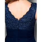 A Line Plus Sizes Petite Mother Of The Bride Dress Dark Navy Knee Length Sleeveless Chiffon Lace
