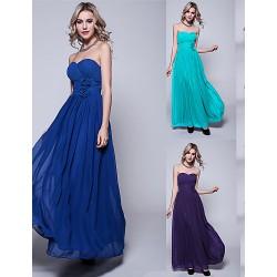 Floor Length Chiffon Bridesmaid Dress Ink Blue Pool Regency Black Burgundy Ruby Fuchsia Silver Jade Royal Blue