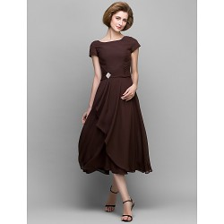 A-line Mother of the Bride Dress - Chocolate Tea-length Short Sleeve Chiffon