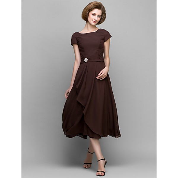 A-line Mother of the Bride Dress - Chocolate Tea-length Short Sleeve Chiffon Mother Of The Bride Dresses