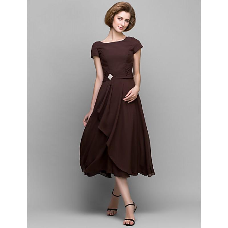 A Line Mother Of The Bride Dress Chocolate Tea Length