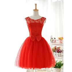 Knee Length Lace Tulle Stretch Satin Bridesmaid Dress Ruby Ball Gown Jewel