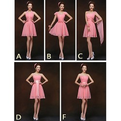 Mix & Match Dresses Short Mini Chiffon 5 Styles Bridesmaid Dresses (2839951)