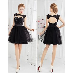 Cocktail Party Dress - Black Ball Gown Scoop Short/Mini Tulle