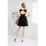 Cocktail Party Dress - Black Ball Gown Scoop Short/Mini Tulle Special Occasion Dresses
