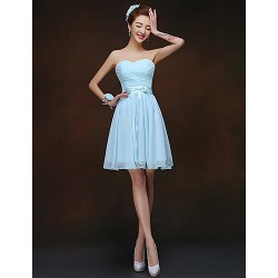 Short/Mini Bridesmaid Dress - Sky Blue Sheath/Column Sweetheart