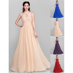 Floor Length Chiffon Bridesmaid Dress Royal Blue Ruby Champagne Grape Plus Sizes Petite A Line Jewel