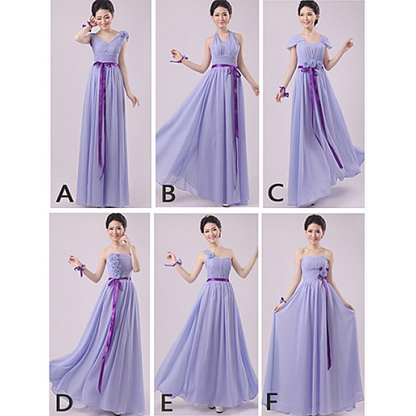 Mix & Match Dresses Floor-length Chiffon 5 Styles Bridesmaid Dresses (2840141) Special Occasion Dresses