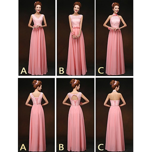 Mix & Match Dresses Floor-length Chiffon and Lace 3 Styles Bridesmaid Dresses (2859514) Special Occasion Dresses