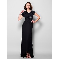 Sheath Column Plus Sizes Petite Mother Of The Bride Dress Black Asymmetrical Short Sleeve Chiffon