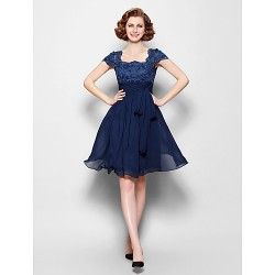 A-line Plus Sizes / Petite Mother of the Bride Dress - Dark Navy Knee-length Short Sleeve Chiffon / Lace