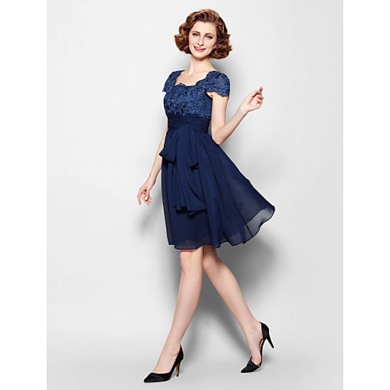 56b9f87d652 ... A-line Plus Sizes   Petite Mother of the Bride Dress - Dark Navy Knee  ...