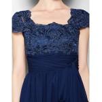 A-line Plus Sizes / Petite Mother of the Bride Dress - Dark Navy Knee-length Short Sleeve Chiffon / Lace Mother Of The Bride Dresses