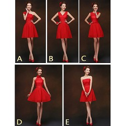 Mix & Match Dresses Short Mini Chiffon And Lace 5 Styles Bridesmaid Dresses (2840151)