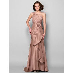 Trumpet Mermaid Plus Sizes Petite Mother Of The Bride Dress Brown Sweep Brush Train Sleeveless Taffeta Lace