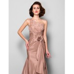 Trumpet/Mermaid Plus Sizes / Petite Mother of the Bride Dress - Brown Sweep/Brush Train Sleeveless Taffeta / Lace Mother Of The Bride Dresses