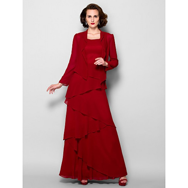A Line Plus Sizes Petite Mother Of The Bride Dress Burgundy Floor Length Long Sleeve Georgette