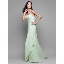 Floor Length Chiffon Bridesmaid Dress Sage Sheath Column Strapless