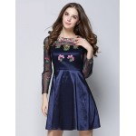 Cocktail Party Dress - Ink Blue Ball Gown Jewel Knee-length Cotton / Polyester Special Occasion Dresses