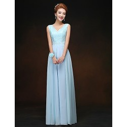 Floor Length Chiffon Bridesmaid Dress Sky Blue Sheath Column V Neck