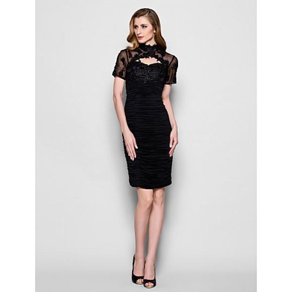 Sheath/Column Plus Sizes / Petite Mother of the Bride Dress - Black Knee-length Short Sleeve Tulle / Jersey Mother Of The Bride Dresses
