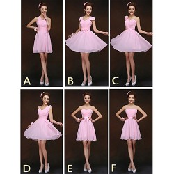 Mix & Match Dresses Short Mini Chiffon 6 Styles Bridesmaid Dresses (2839958)