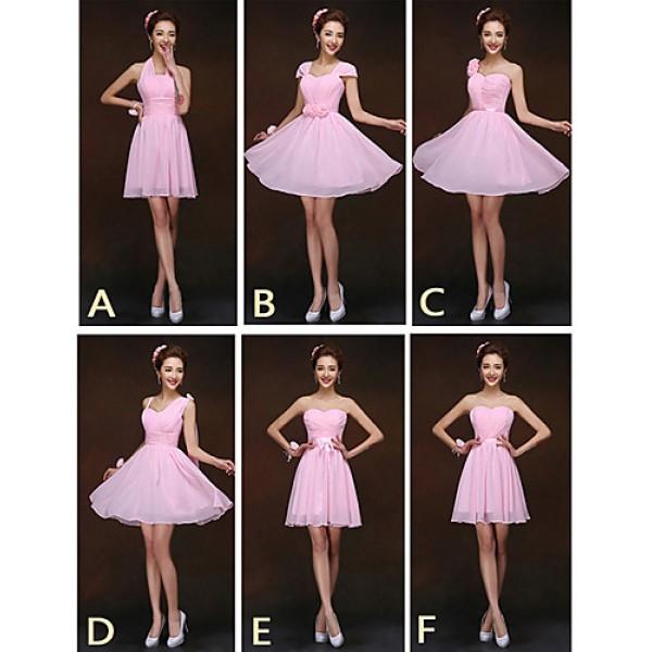 Mix & Match Dresses Short/Mini Chiffon 6 Styles Bridesmaid Dresses (2839958) Special Occasion Dresses