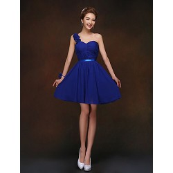 Short Mini Bridesmaid Dress Royal Blue Sheath Column One Shoulder