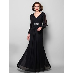 A Line Plus Sizes Petite Mother of the Bride Dress Black Floor Length Long Sleeve Chiffon
