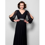 A-line Plus Sizes / Petite Mother of the Bride Dress - Black Floor-length Long Sleeve Chiffon Mother Of The Bride Dresses