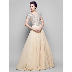A-line Plus Sizes / Petite Mother of the Bride Dress - Champagne Floor-length Short Sleeve Chiffon / Tulle / Sequined