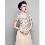 A-line Plus Sizes / Petite Mother of the Bride Dress - Champagne Floor-length Short Sleeve Chiffon / Tulle / Sequined Mother Of The Bride Dresses