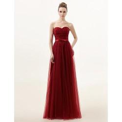 Floor Length Lace Bridesmaid Dress Burgundy A Line Sweetheart
