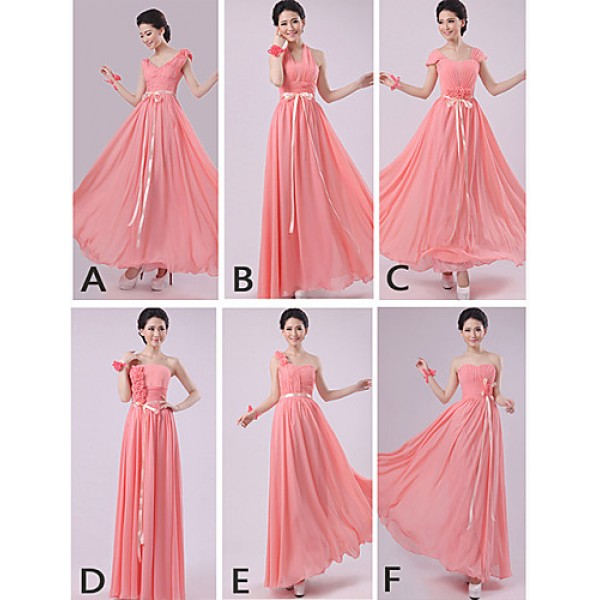 Mix & Match Dresses Floor-length Chiffon 5 Styles Bridesmaid Dresses (2840140) Special Occasion Dresses