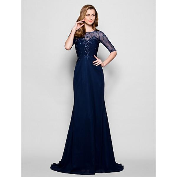 A-line Plus Sizes / Petite Mother of the Bride Dress - Dark Navy Sweep/Brush Train Half Sleeve Chiffon / Tulle Mother Of The Bride Dresses