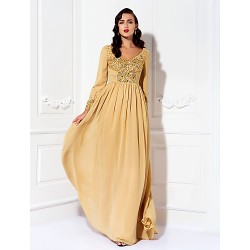 A-line Plus Sizes / Petite Mother of the Bride Dress - Gold Floor-length Long Sleeve Chiffon