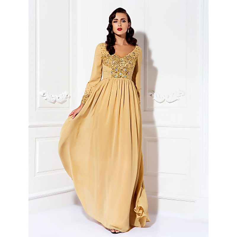 61f8861be8a5 A-line Plus Sizes / Petite Mother of the Bride Dress - Gold Floor ...