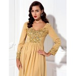 A-line Plus Sizes / Petite Mother of the Bride Dress - Gold Floor-length Long Sleeve Chiffon Mother Of The Bride Dresses
