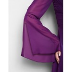 A-line Plus Sizes / Petite Mother of the Bride Dress - Grape Floor-length Long Sleeve Chiffon Mother Of The Bride Dresses