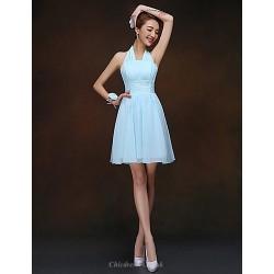 Short Mini Bridesmaid Dress Sky Blue Sheath Column Halter