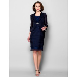 Sheath Column Plus Sizes Petite Mother Of The Bride Dress Dark Navy Knee Length 3 4 Length Sleeve Chiffon Taffeta
