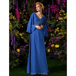 A Line Plus Sizes Petite Mother Of The Bride Dress Royal Blue Floor Length Long Sleeve Chiffon