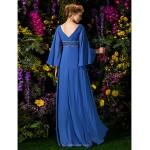 A-line Plus Sizes / Petite Mother of the Bride Dress - Royal Blue Floor-length Long Sleeve Chiffon Mother Of The Bride Dresses