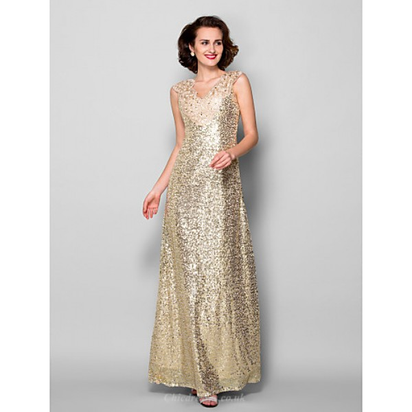 Sheath/Column Plus Sizes / Petite Mother of the Bride Dress - Champagne Floor-length Sleeveless Sequined Mother Of The Bride Dresses