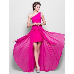 Floor-length Chiffon Bridesmaid Dress - Fuchsia Plus Sizes / Petite Sheath/Column One Shoulder