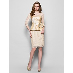 Sheath Column Plus Sizes Petite Mother of the Bride Dress Champagne Knee length 3 4 Length Sleeve Lace Taffeta
